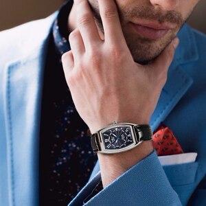Image 5 - זוכה הרשמי מכאני שעון חבית כיכר לבן שחור לוח שנה רצועת עור יוניסקס כל משחק קלאסי עסקים מקרית שמלה