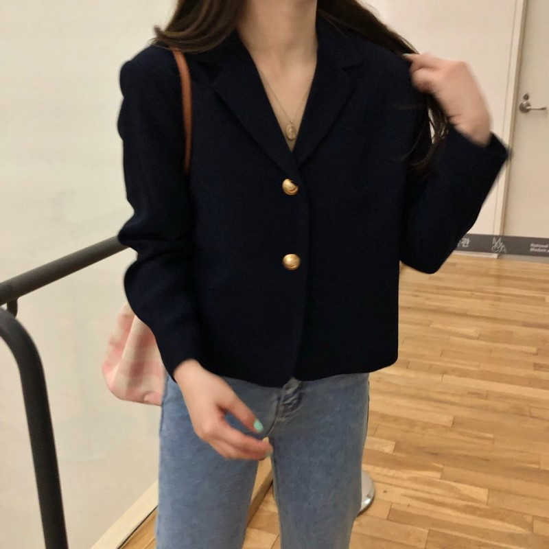 2019 Korea Women Autumn Cotton Blazers Brief Jackets Coat Single Breasted Blazer Feminina Chaqueta Mujer Outer Wear Veste Femme 1