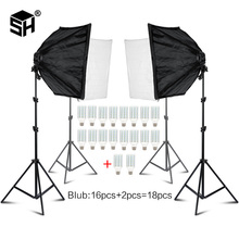 Photo Studio Rectangle Photography Soft Box 8 Led 20W Photographic Lighting Kit 2 Light Stand 2 Soft box Carry Bag for Camera portable 72w 1200 led continuous photographic light studio lighting kit with stand and carrying bag