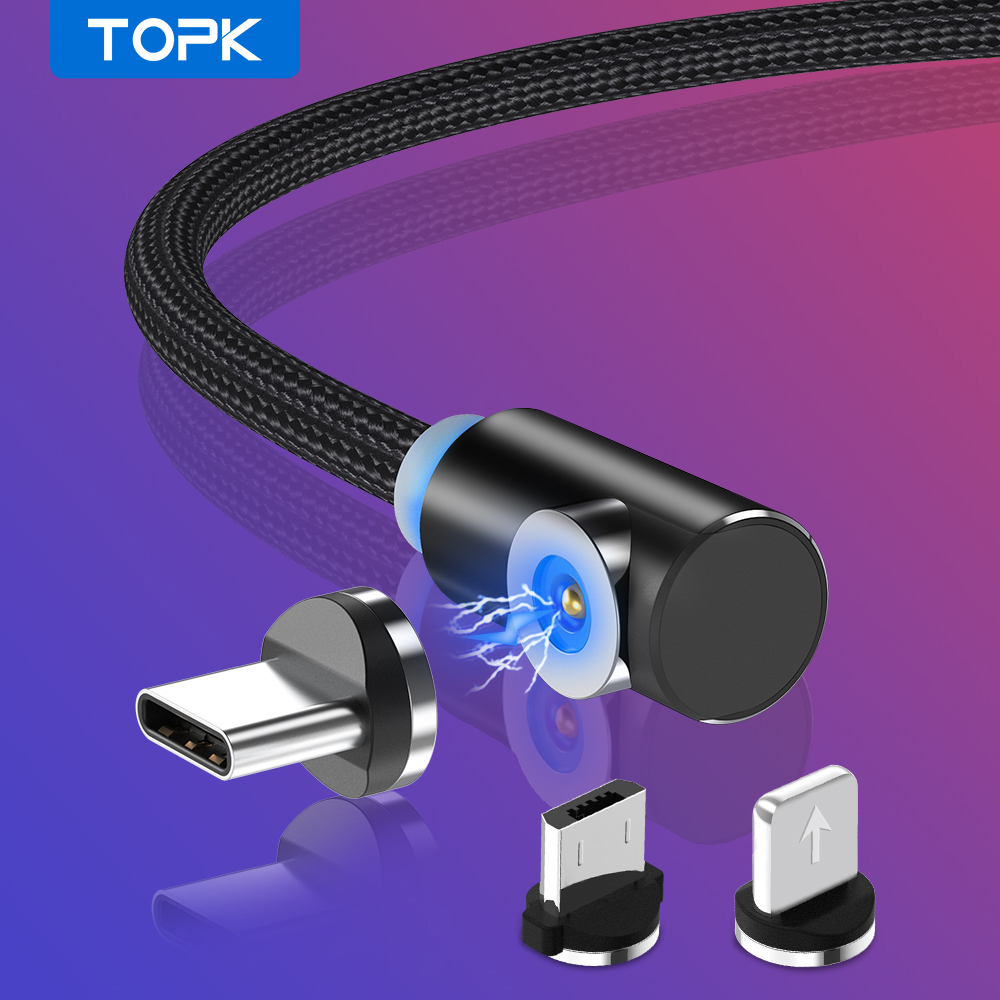 TOPK L Type Magnetic USB Cable for iPhone Charger Micro Usb Type C for Samsung Galaxy S9 S8 Plus Note USB C Charger Cable|Mobile Phone Cables|   - AliExpress