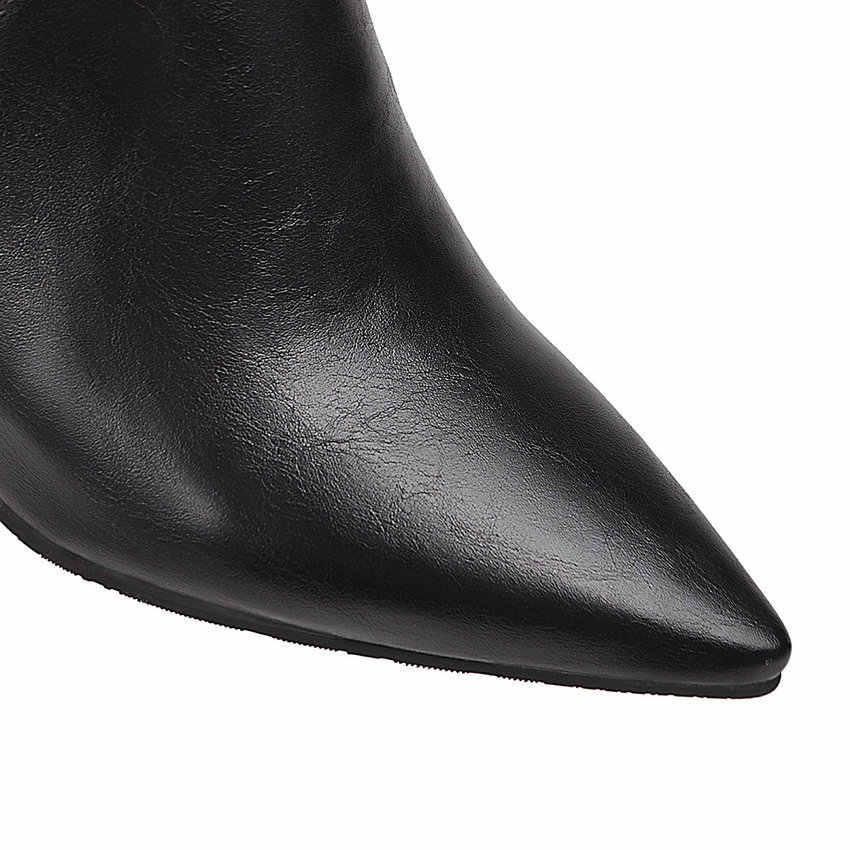 QUTAA 2020 PU Deri Seksi Sivri Burun Sıcak Kürk Kadın Ayakkabı Sonbahar Kış Kare Yüksek Topuk Fermuar Moda yarım çizmeler Boyutu 34-43