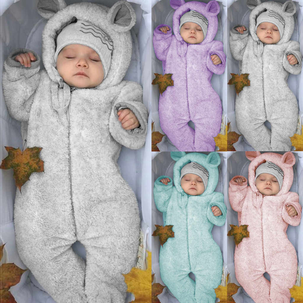 Winter Baby Romper Hooded Newborn Girls Clothes Bear Ears Overalls For Kids Thicken Warm Infantil Roupa Long Sleeve Costume #35