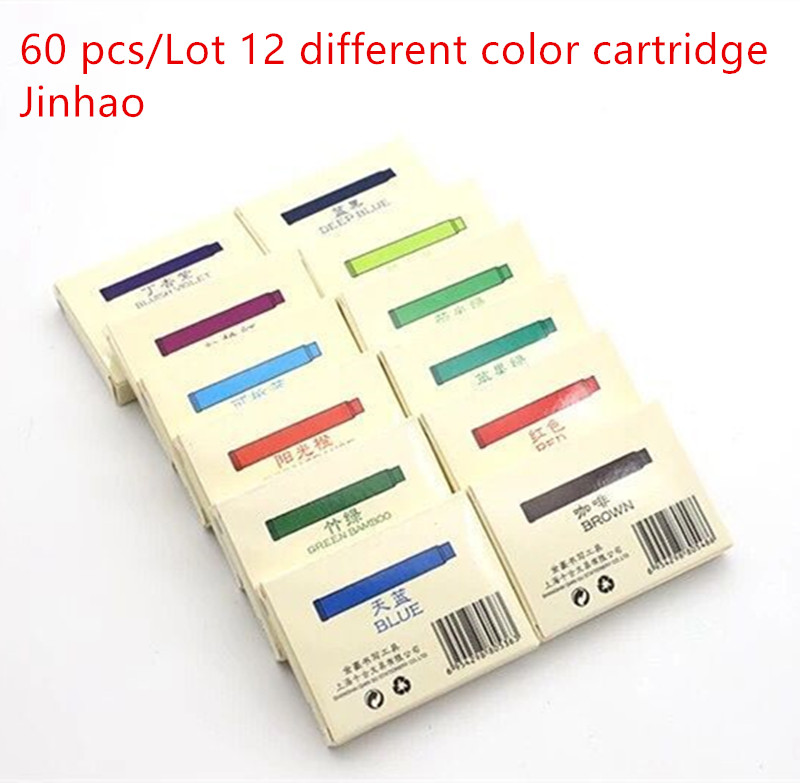 60 Pcs/Lot 12 Different Color Cartridge Jinhao Fountain Pen Universal Ink Supplies Stationery Office School Accessories A6294