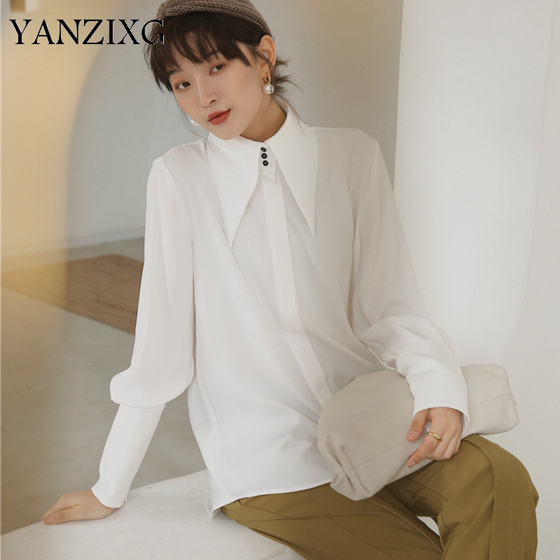White Pointed Collar Long Sleeve Straight Cuff Single breasted Woman Shirt Casual Simple Fashion 2019 Autumn New S551