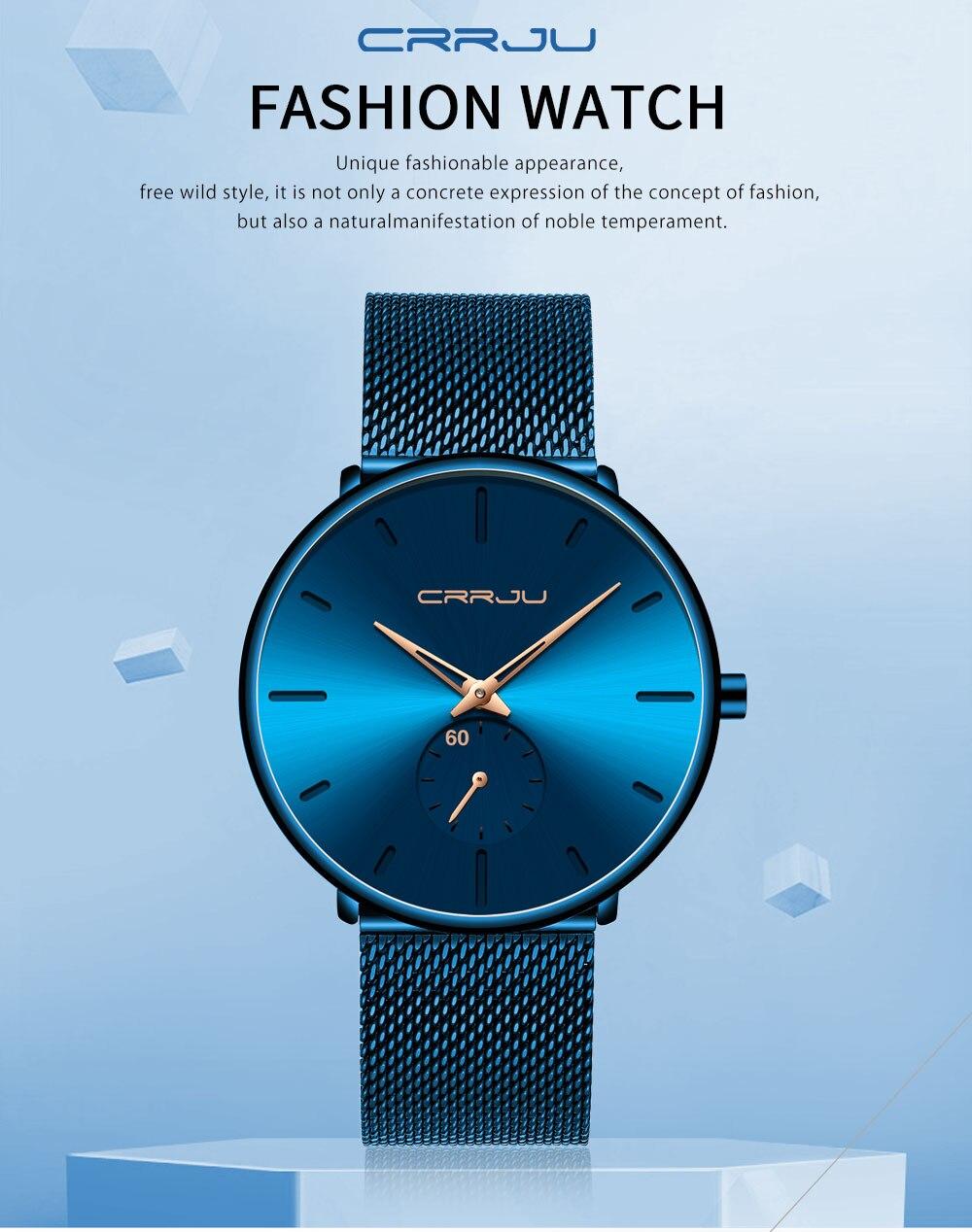 He4a5100c917e444ca5d92d9b64e37671B CRRJU Ultra Thin Blue Stainless steel Quartz Watches Men Simple Fashion Business Japan Wristwatch Clock Male Relogio Masculino