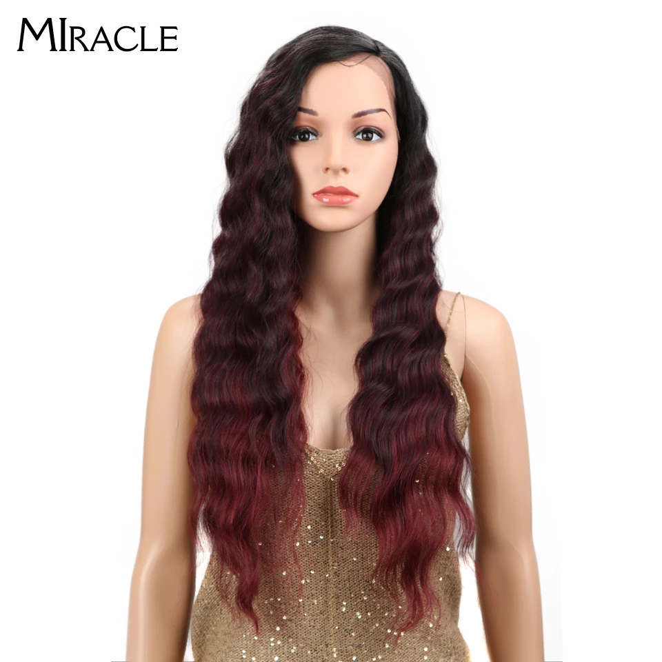 Miracle 28 Inches Deep Wave Lace Front Wigs For Black Women Side Part Burgundy Ombre Wig Heat Resistant Synthetic Hair Wigs