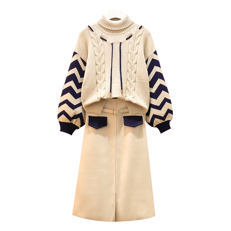 Large Plus Size 5XL Warm Skirt Suit Autumn Winter Women Turtleneck Sweater+Skirt 2 Piece Set Top And Skirt Sweater Kintted Set