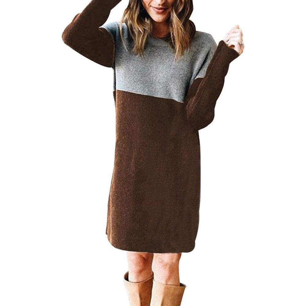 Women Autumn Dress Long Sleeve Stripe Patchwork O-neck Mini Dress Fashion Clothing Loose Casual Autumn Winter Vestido 8