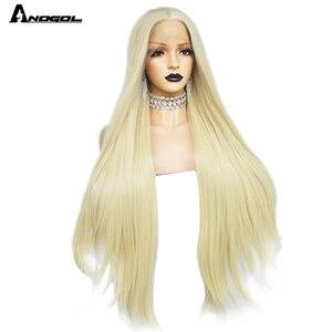 Аногол высокое Температурное волокно длинные натуральные волнистые средние части бесклеевые 613 блонд синтетические кружевные передние во...