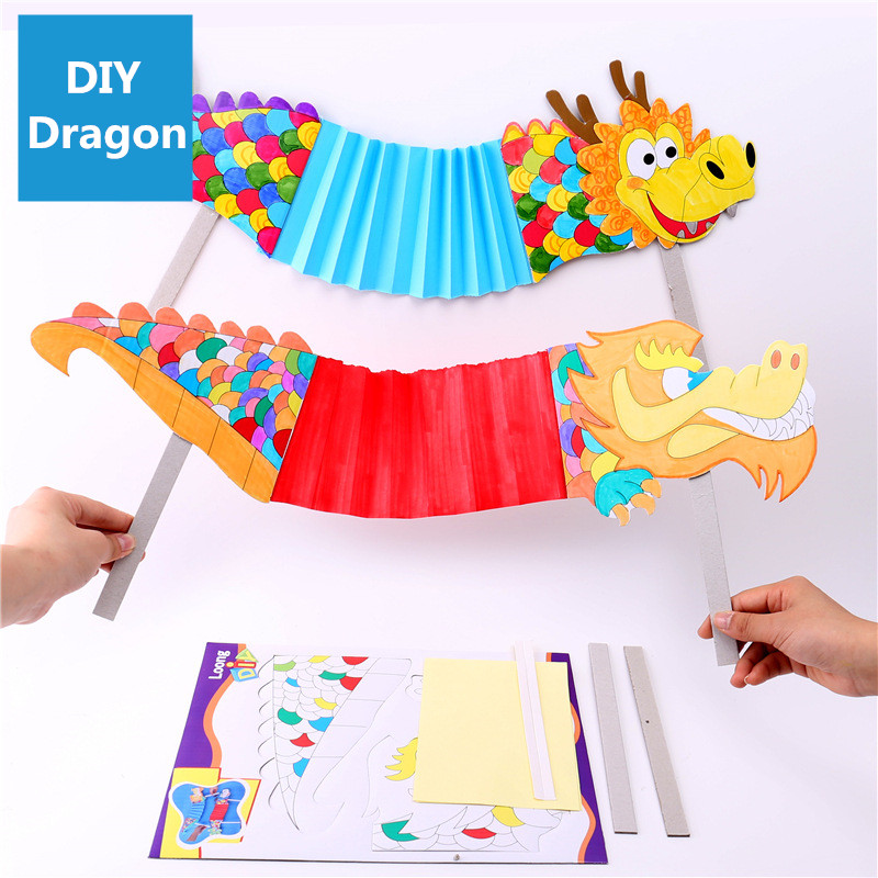 Handmade DIY Dance Dragon Kindergarten Craft Toy For Children Manual Materials Creative Kid Toys Chinese New Year Decor