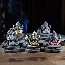 Слон буддийский Будда керамический водопад обратного потока ладан горелка держатель конусы курильница домашний декор