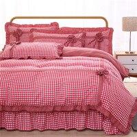 4pcs Princess style Ruffle Home Textile Bedding Sets Adult Bedding Set Bed Duvet Cover King Size Quilt Duvet Cover Pillowcas