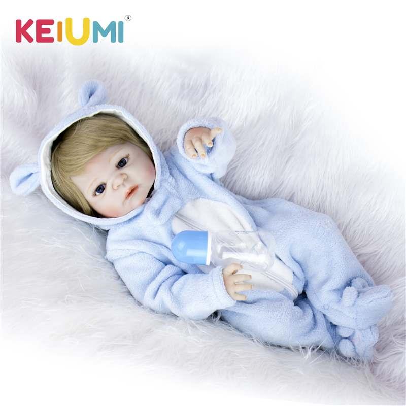 KEIUMI 23'' Lifelike Baby Reborn Bonacas 57cm Full Silicone Vinyl Reborn Babies Doll Toy Alive Baby Doll For Kids Birthday Gifts