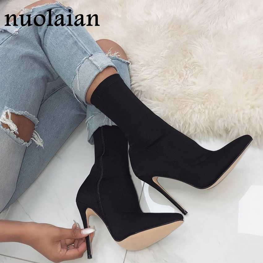 10.5CM High Heel Shoe Winter Shoes Woman Ankle Boots Snow Short Boot Women High Heels Socks Boots Stretch Fabric Bottine