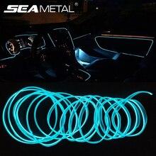 3/5 Meters Car Interior Light Decorative Strip 12V Auto LED Strip EL Wire Rope Car Atmosphere Decor Lamp Flexible Neon Light DIY