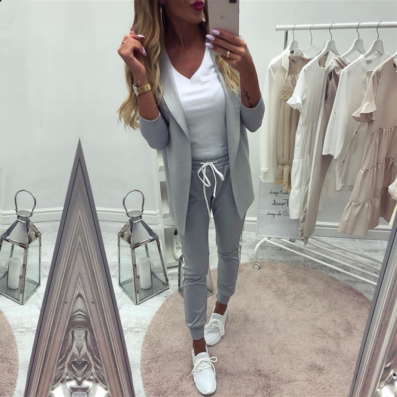 Taotrees Women's Costume Sports Suit spring tracksuit female lapel blazer jacket+pant two piece outfits