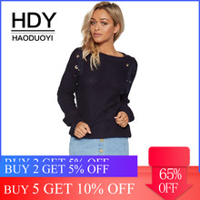 HDY Haoduoyi Autumn Solid Navy Blue Women Sweater Lace-up Drawstring Hollow Out Grommet Lady Tops Loose Casual Female Pullovers(China)
