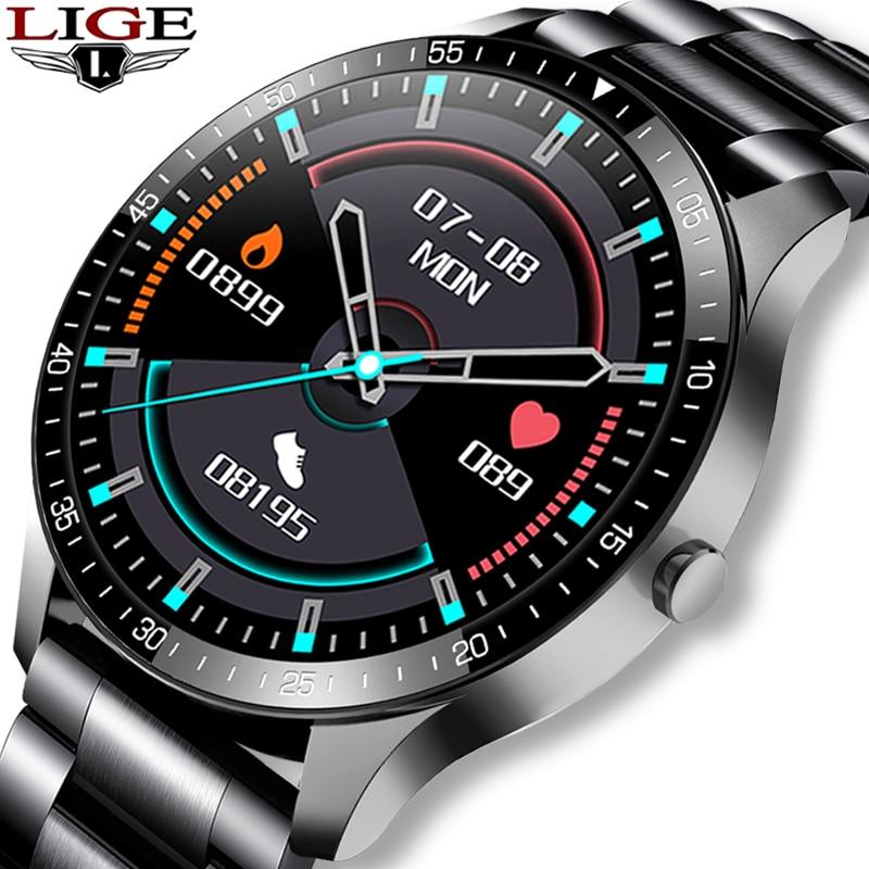 LIGE Neue Herren Smart Uhr Wasserdichte Herzfrequenz Fitness Tracker Herren Smart Uhr Damen 1,3 Zoll Touchscreen Smart Uhr