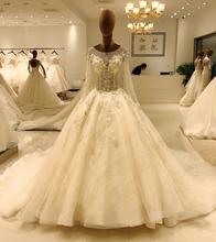 Elegancka suknia ślubna wesele z długim rękawem suknia ślubna off białe suknie ślubne 2020 suknia ślubna z tiulu kup chiny bezpośrednie SL-8063 tanie tanio SuLi Kochanie Pełna Aplikacje Katedra królewski pociąg Długość podłogi Lace up REGULAR Frezowanie Kryształ Perły