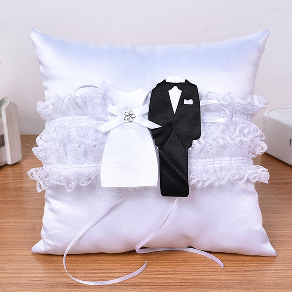 European White Lace Wedding Ring Cushion Pillow & Flower Basket Bridal DIY Wedding Marriage Ceremony Decorations