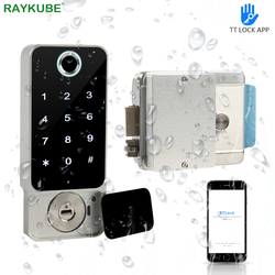 RAYKUBE 指紋ドアロック防水屋外ゲート Bluetooth TT ロック Wifi パスコード IC カードキーレス電子ロック W5 入力