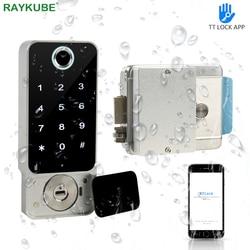 RAYKUBE 지문 도어 잠금 방수 야외 게이트 블루투스 TT 잠금 와이파이 패스 코드 IC 카드 열쇠가없는 전자 잠금 W5 입력