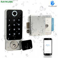 RAYKUBE Fingerprint Door Lock Waterproof Outdoor Gate Bluetooth TT Lock Wifi Passcode IC Card Keyless Enter Electronic Lock W5