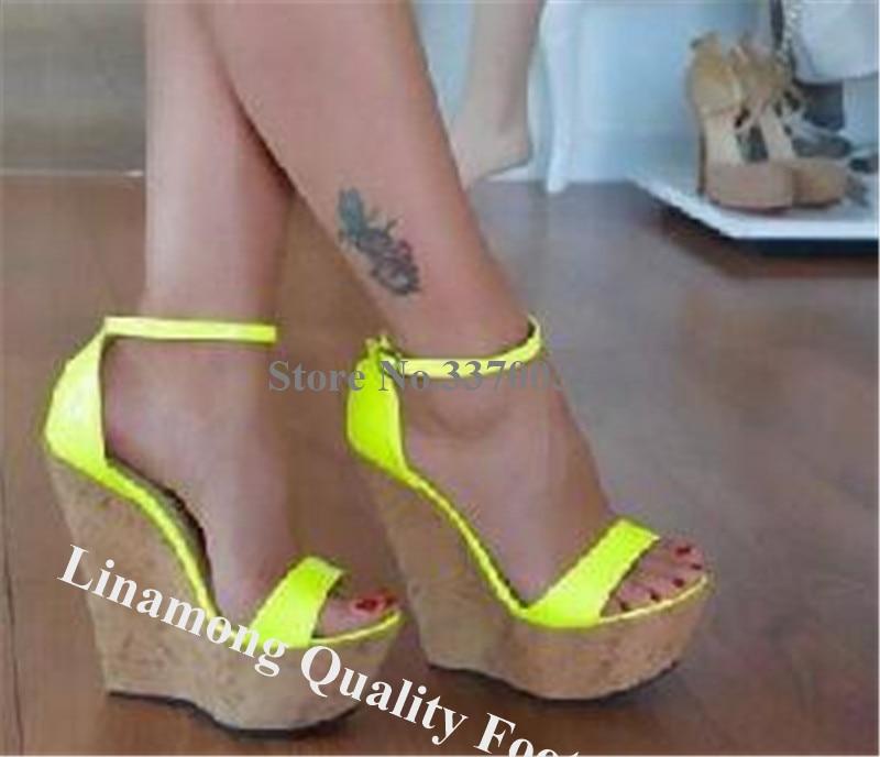 Linbetween nouveau bout ouvert en cuir verni haute plate-forme compensée gladiateur sandales Fluorescent Rose rouge jaune compensées robe chaussures compensées - 2