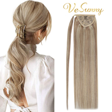 VeSunny Ponytail Extensions Wrap Around Magic Tape 100% Human Hair Highlighted Color
