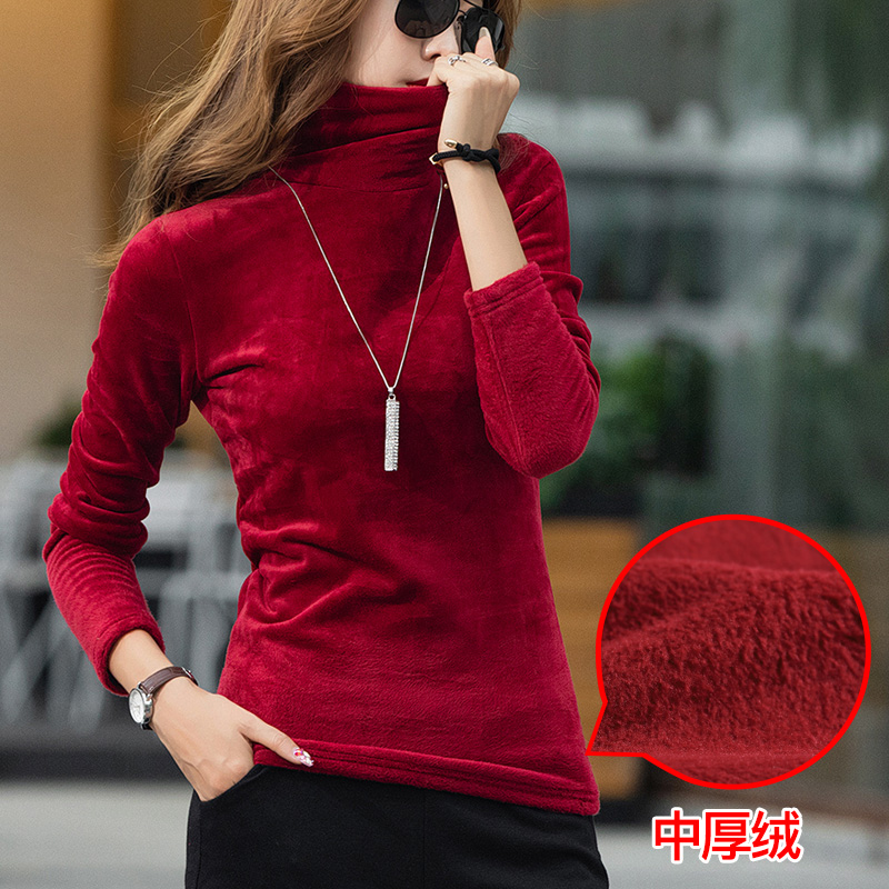 Turtleneck Velvet Fleece T Shirt Women Solid Tops Stretchy Long Sleeve Plus Size S-4XL Autumn Winter T-shirt Bottoming T90394