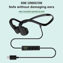 Tipo-c com fio fones de ouvido de condução óssea impermeável esportes ao ar livre fone de ouvido redução de ruído com microfone para caminhar caminhadas correndo