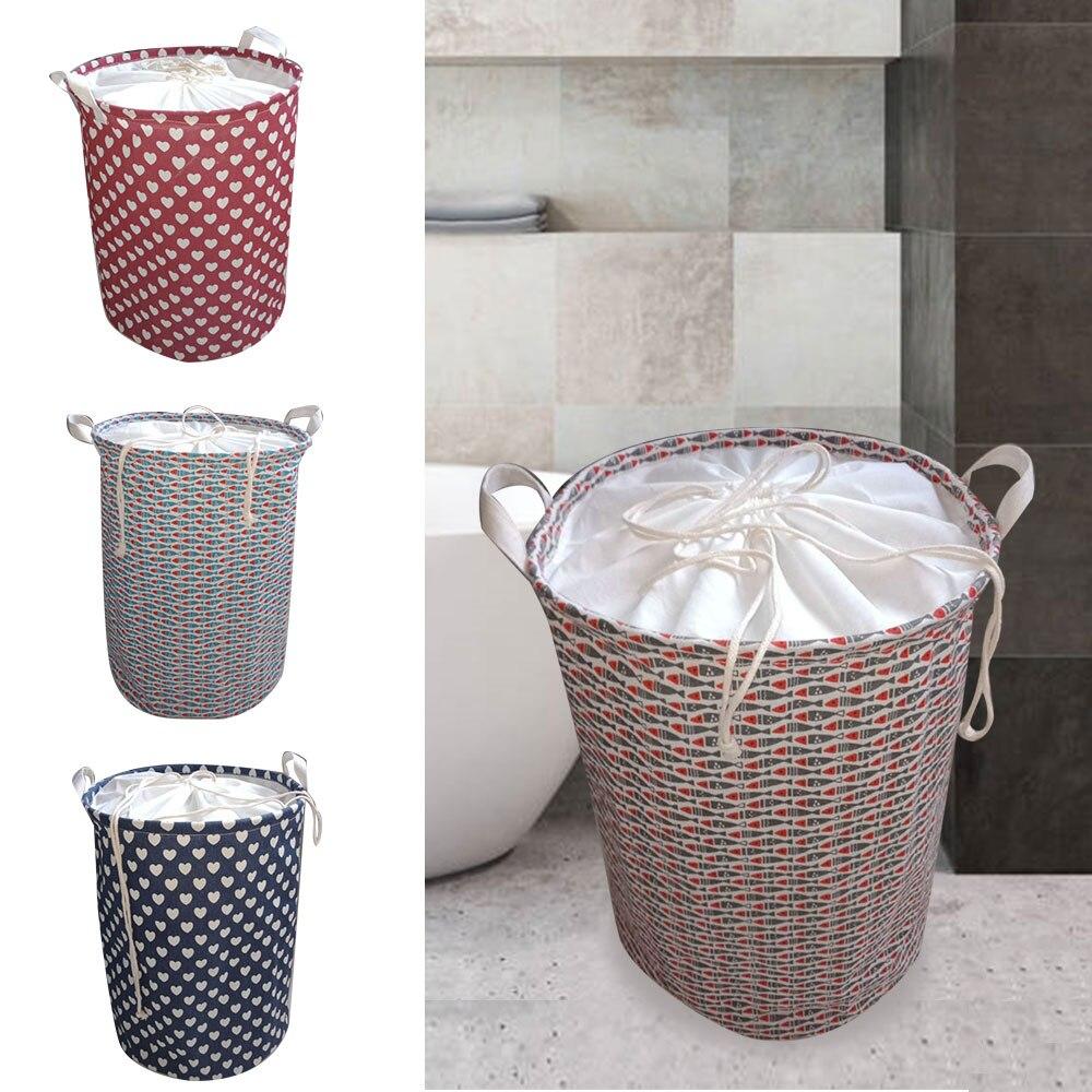 New Folding Laundry Basket Round Storage Bin Bag Large Hamper Collapsible Clothes Toy Basket Bucket Organizer Large Capacity