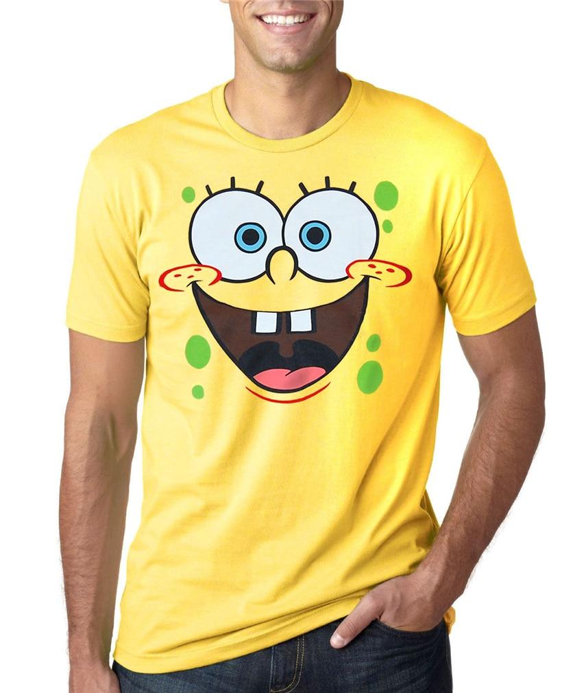 Spongebob Face Adult T-Shirt New Cotton Short Sleeve Tee Shirt