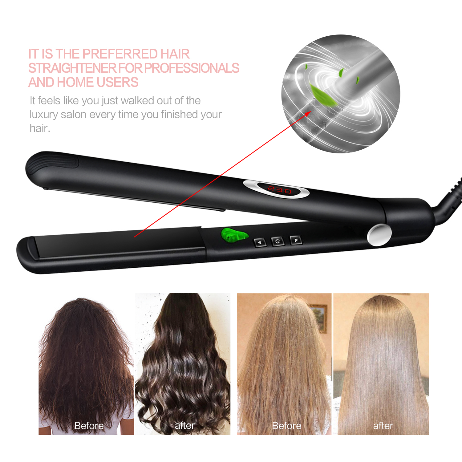 Professional Flat Iron Ionic Infrared Straight Hair Ceramic Hair Straightening & Curling Iron Salon Hair Curler Styling Tool
