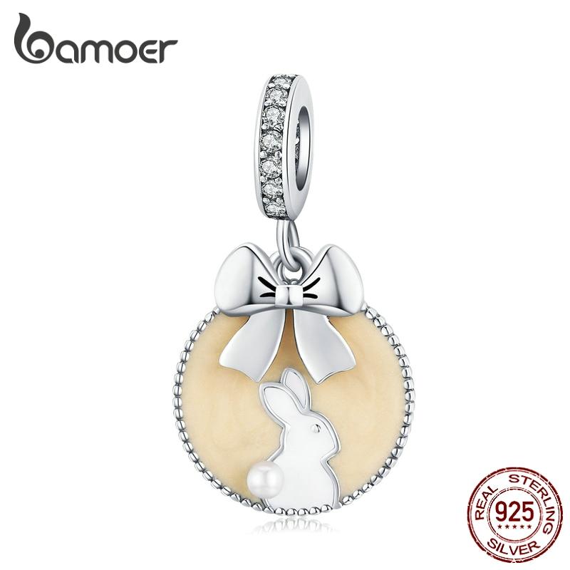 Bamoer Magic Forest Adventure Collection 925 Sterling Silver Cat Beige Enamel Pendant For Original Bracelet Or Necklace SCC1439