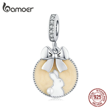 bamoer Magic Forest Adventure Collection 925 Sterling Silver Cat Beige Enamel Pendant for Original Bracelet or Necklace SCC1439