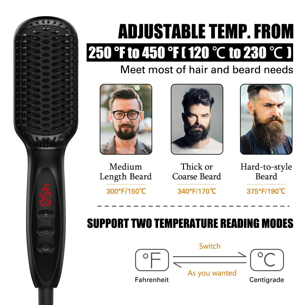 EllePeri.com : Beard Straightening Comb – Multifunctional Hair Comb Hair Iron BrushHair Volumize Flatten Side And Straighten Quick Hair Styler For Men