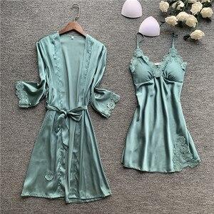 Image 2 - Spring New Lace Sexy Women Robe Set With Chest Pad Nightdress Cardigan Set Sleepwear
