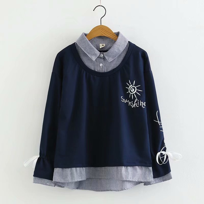 Merry Pretty Women Letter Embroidery Hoodies Sweatshirts 2019 Winter Long Sleeve Turndown Collar Striped Patchwork Pullovers 29