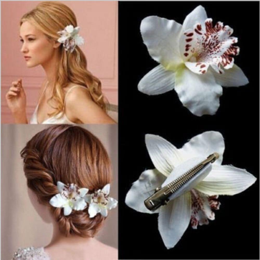 Wedding Bridal beach Flower Orchid Leopard Hair Clip Brooch Pin Barrette Decor Handmade Fake Butterfly Orchid