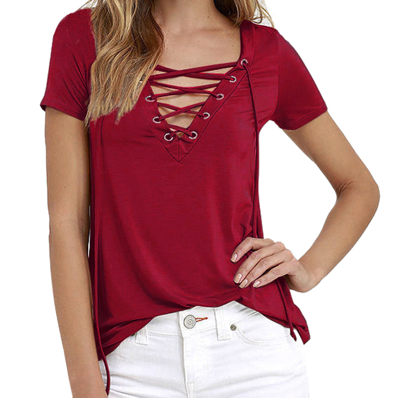 Summer Women Short Sleeve T Shirt Fashion Lace Up Sexy V Neck Hollow Out Top Tees Femme Basic T-shirt Female Plus Size 5XL
