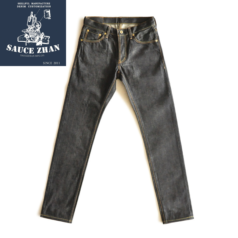 SauceZhan American White Oak CONE MILLS DENIM Slim Fit Jeans Selvedge Jeans Jeans Raw Denim Mens Jeans  Mens Jeans Brand
