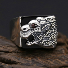 925 sterling Thai silver Men Domineering lion Ring Gift Vintage Punk Rock Ring 925 sterling silver jewelry vintage thai silver faucet ring domineering personality fashion ring