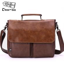 Three Box Brand Fashion Retro Man Bag Business Leather Male Shoulder Bags High quality Cover Work Large Mens Handbag Crossbody