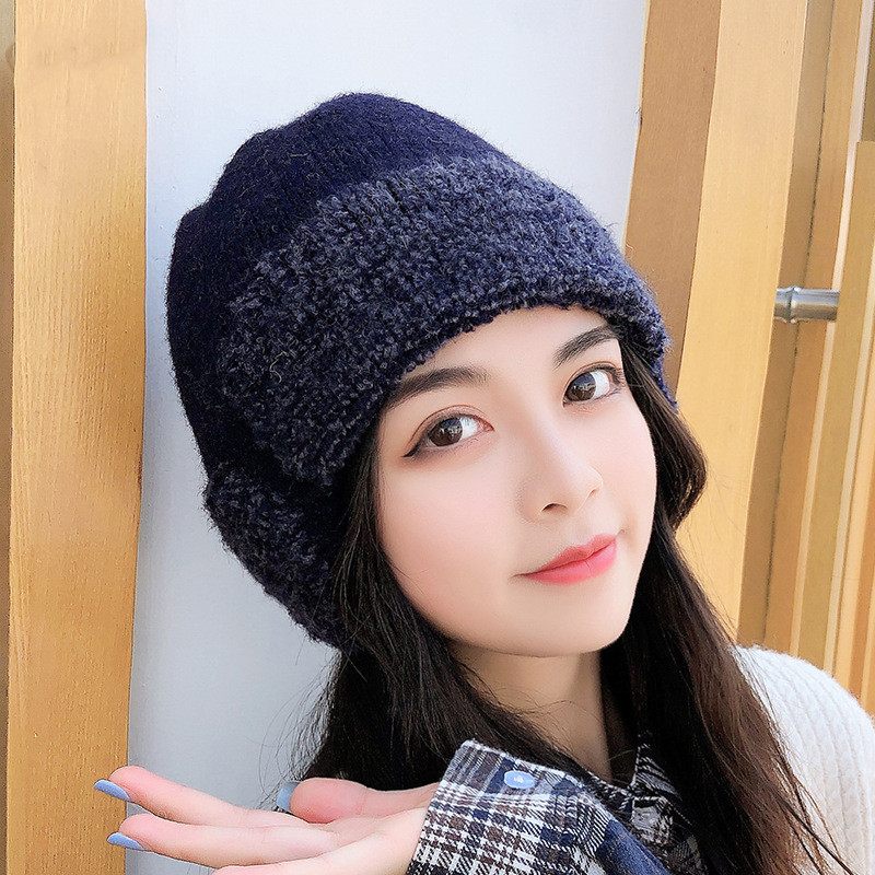 Hot-selling Fashion Winter Hat, Windproof Thick Knitted Hat Outdoor Warmth Cycling Windproof Earmuffs Woolen Hat Pure Color