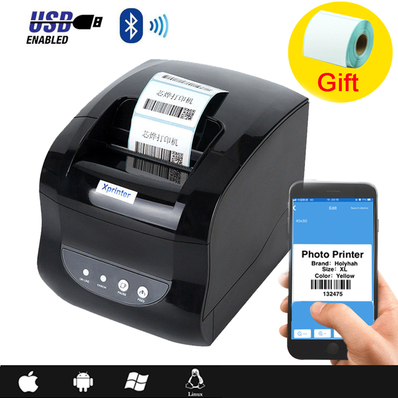 Xprinter 365B QR barcode label printer thermal receipt printer sticker bluetooth usb phone windows 20-80mm for shop supermarket