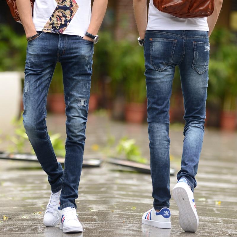 2016 Spring Summer Hot Selling Men Elasticity Grinding Hole Smash Pants Korean-style Handsome Slim Fit Pants Jeans Men's Fashion