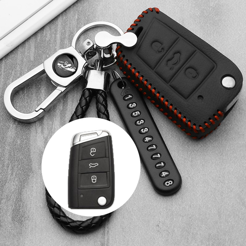 leather Key Case Cover For Volkswagen <font><b>VW</b></font> <font><b>Golf</b></font> <font><b>7</b></font> <font><b>GTI</b></font> MK7/POLO 2016 For Skoda Octavia A7 Key Portect Case Bag Car Accessories image