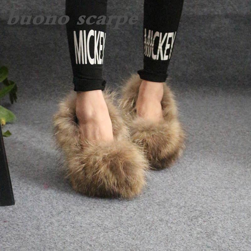 Женские туфли Nyctereutes с рисунком из натурального меха енота на тонком каблуке и с закрытым носком
