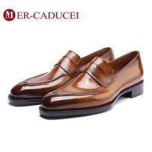 Loafer zapatos para hombre Vintage Retro cuero genuino hecho a mano lujo Oficina boda fiesta vestido diseño Original Casual zapatos hombres